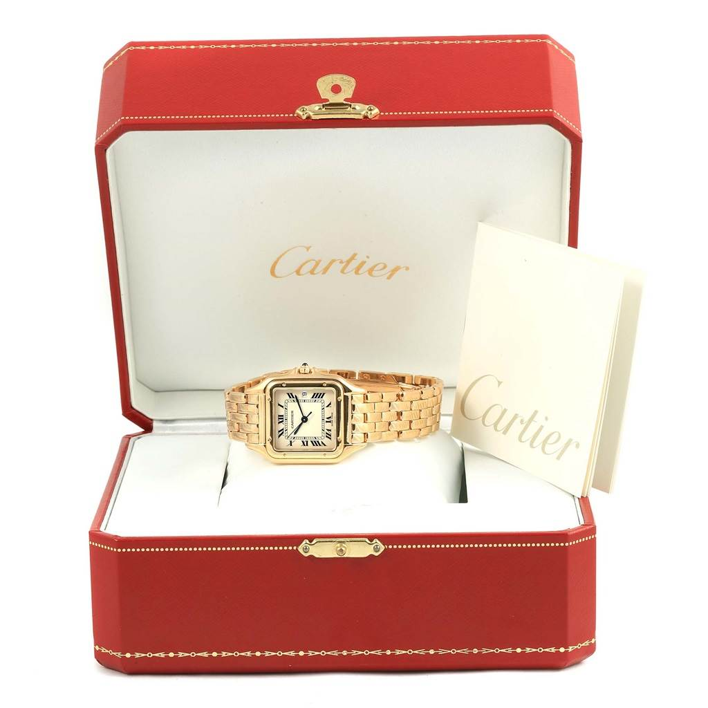 15636 Cartier Panthere XL 18K Yellow Gold Silver Dial Unisex Watch W25014B9 SwissWatchExpo