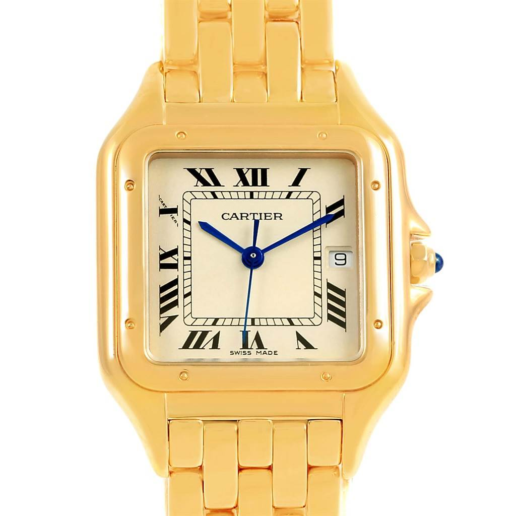 Cartier Panthere XL 18K Yellow Gold Silver Dial Unisex Watch W25014B9 SwissWatchExpo