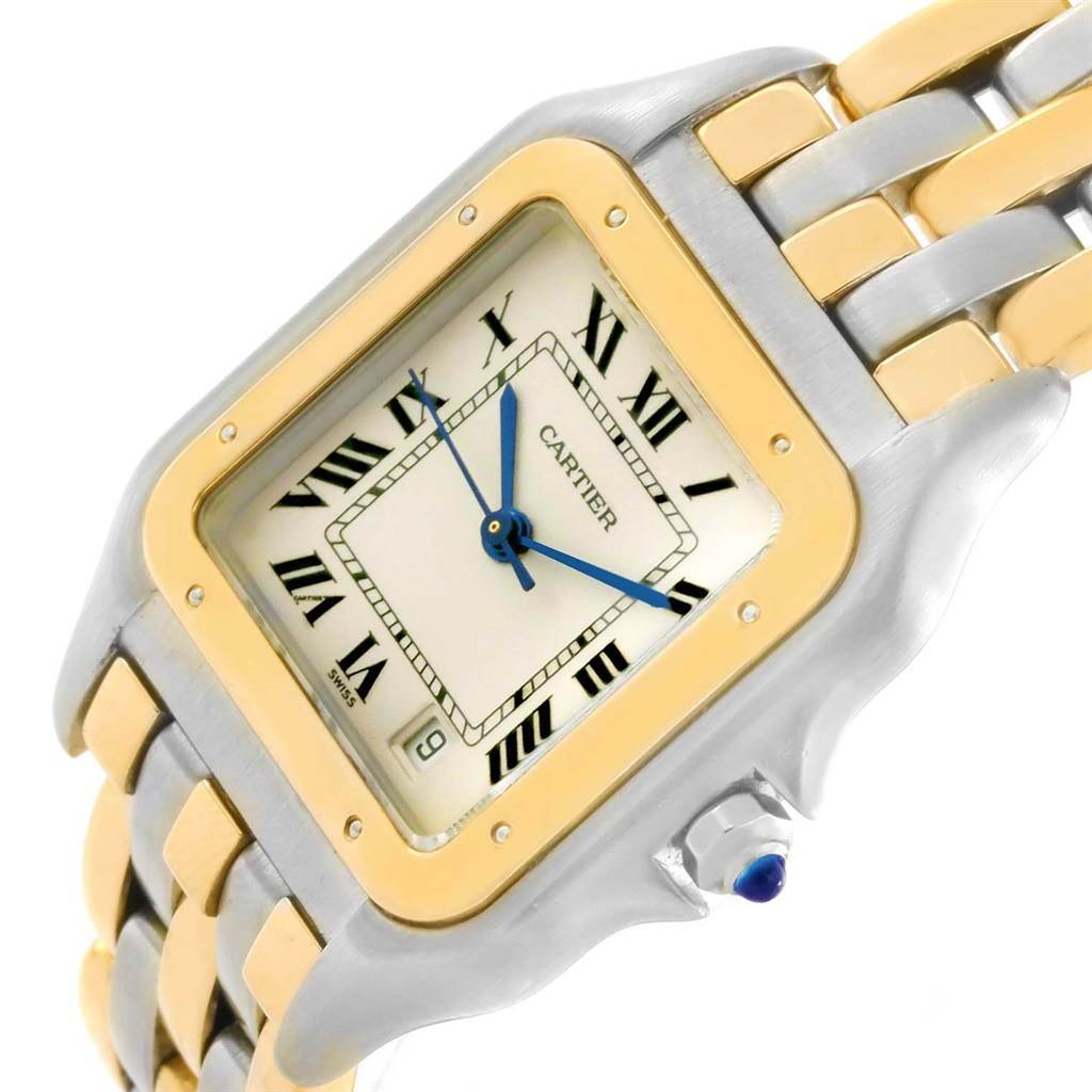 16171 Cartier Panthere Large Steel 18K Yellow Gold Three Row Watch W25028B6 SwissWatchExpo
