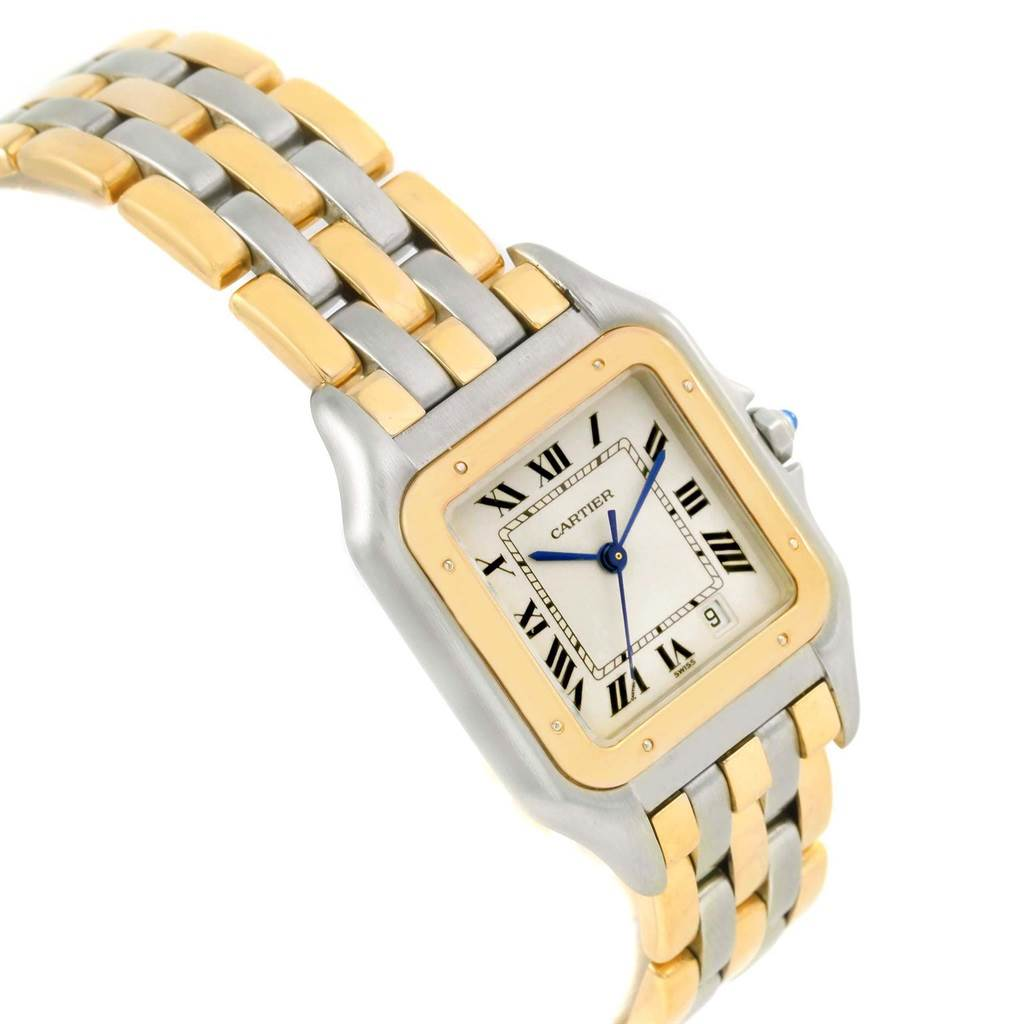 14636 Cartier Panthere Large Steel 18K Yellow Gold Three Row Watch W25028B6 SwissWatchExpo