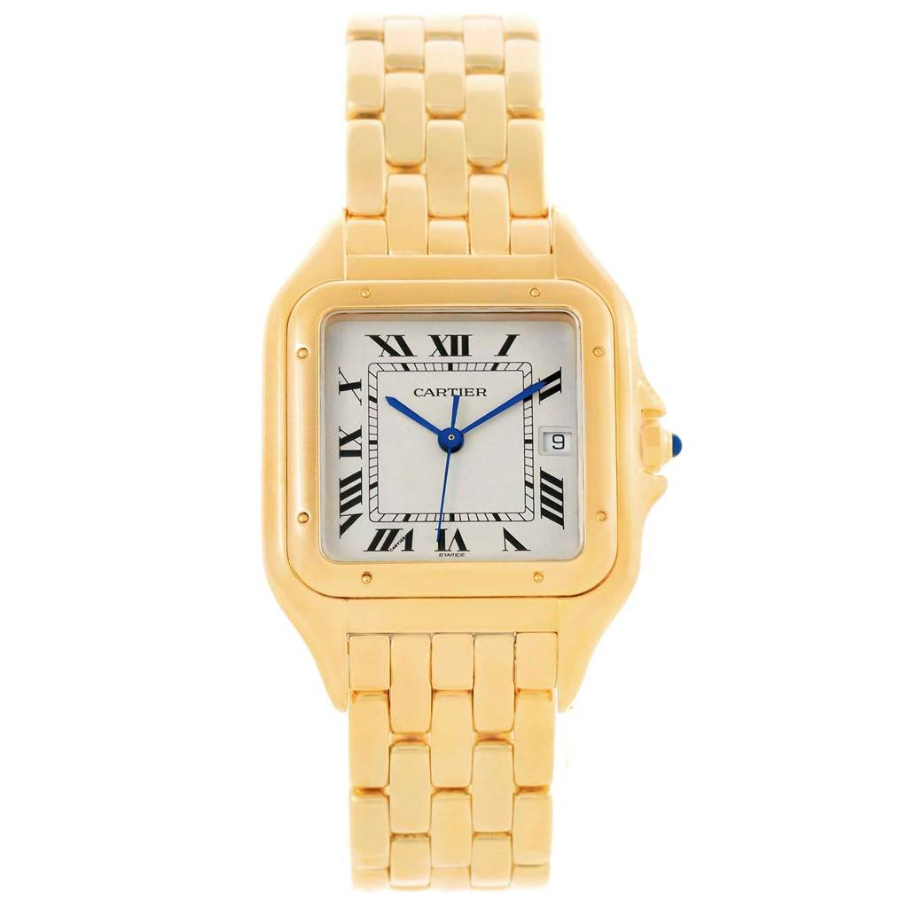 17149 Cartier Panthere XL 18K Yellow Gold Silver Dial Unisex Watch W25014B9 SwissWatchExpo