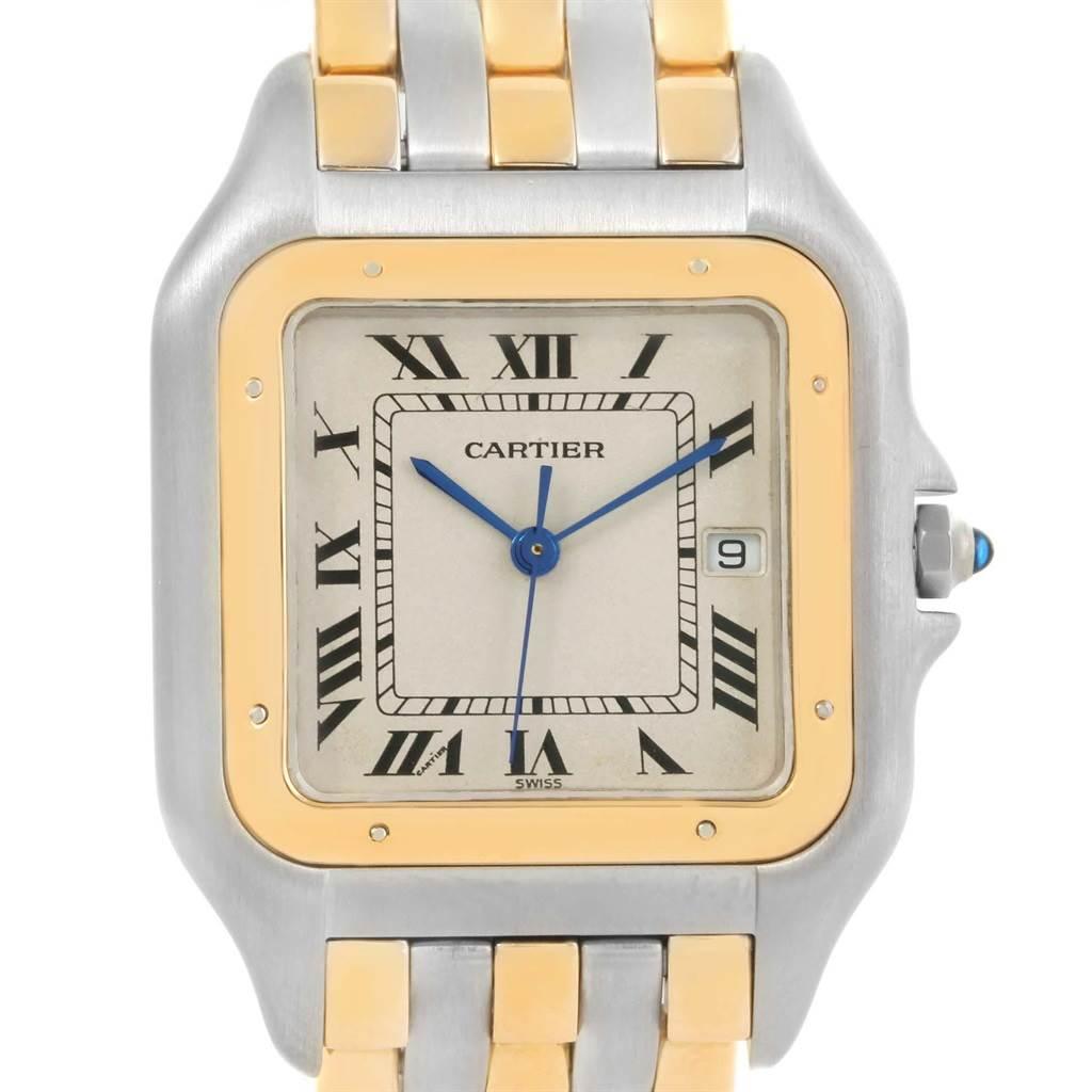 3145K Cartier Panthere Jumbo Steel 18K Yellow Gold Three Row Quartz Watch SwissWatchExpo