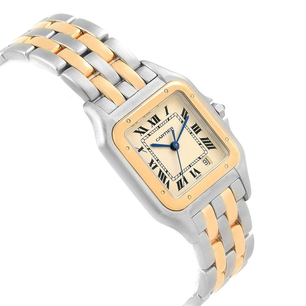 Cartier Panthere Large Steel 18K Yellow Gold 2 Row Watch W25028B8 SwissWatchExpo