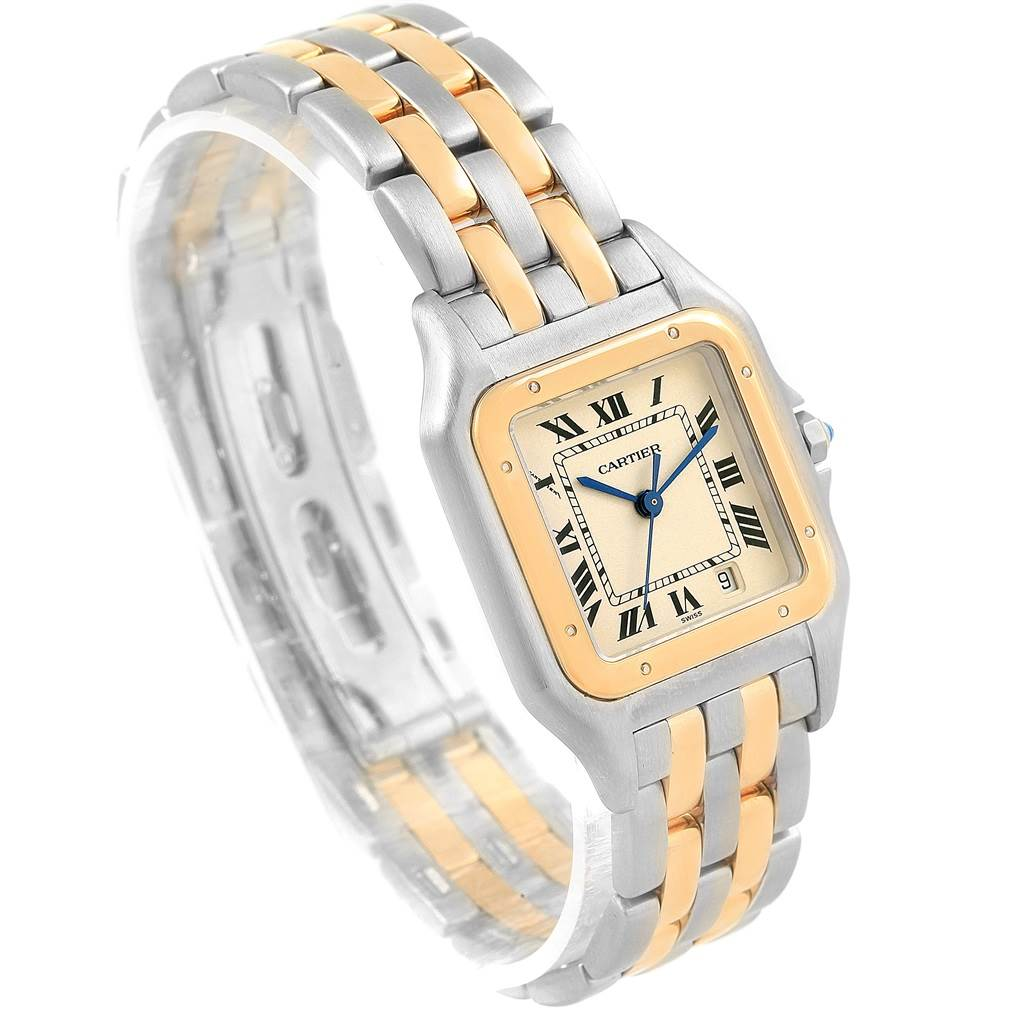 11081 Cartier Panthere Large Steel Yellow Gold Two Row Unisex Watch W25028B8 SwissWatchExpo