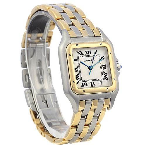 2034 Cartier Panthere Large Ss & 18k Yellow Gold Three Row Watch SwissWatchExpo