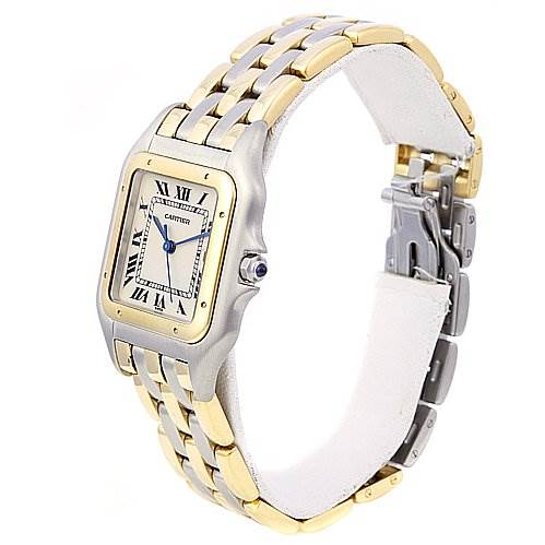 2069 Cartier Panthere Jumbo Stainless Steel and 18k Yellow Gold Three Row Watch SwissWatchExpo