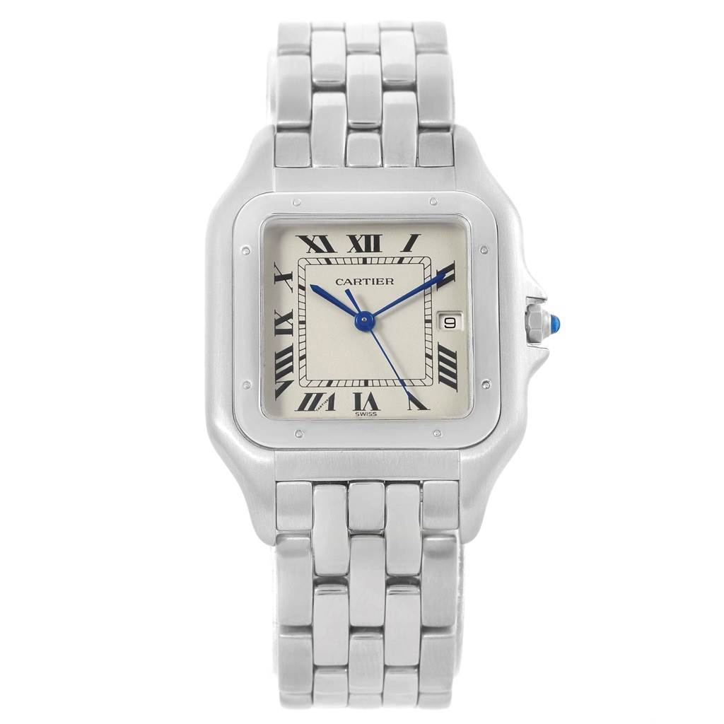 Cartier Panthere Jumbo Stainless Steel Quartz Watch W25032P5 Box SwissWatchExpo