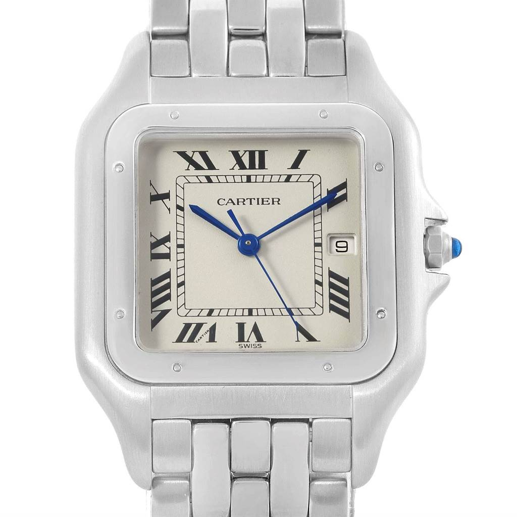 17962 Cartier Panthere Jumbo Stainless Steel Quartz Watch W25032P5 Box SwissWatchExpo