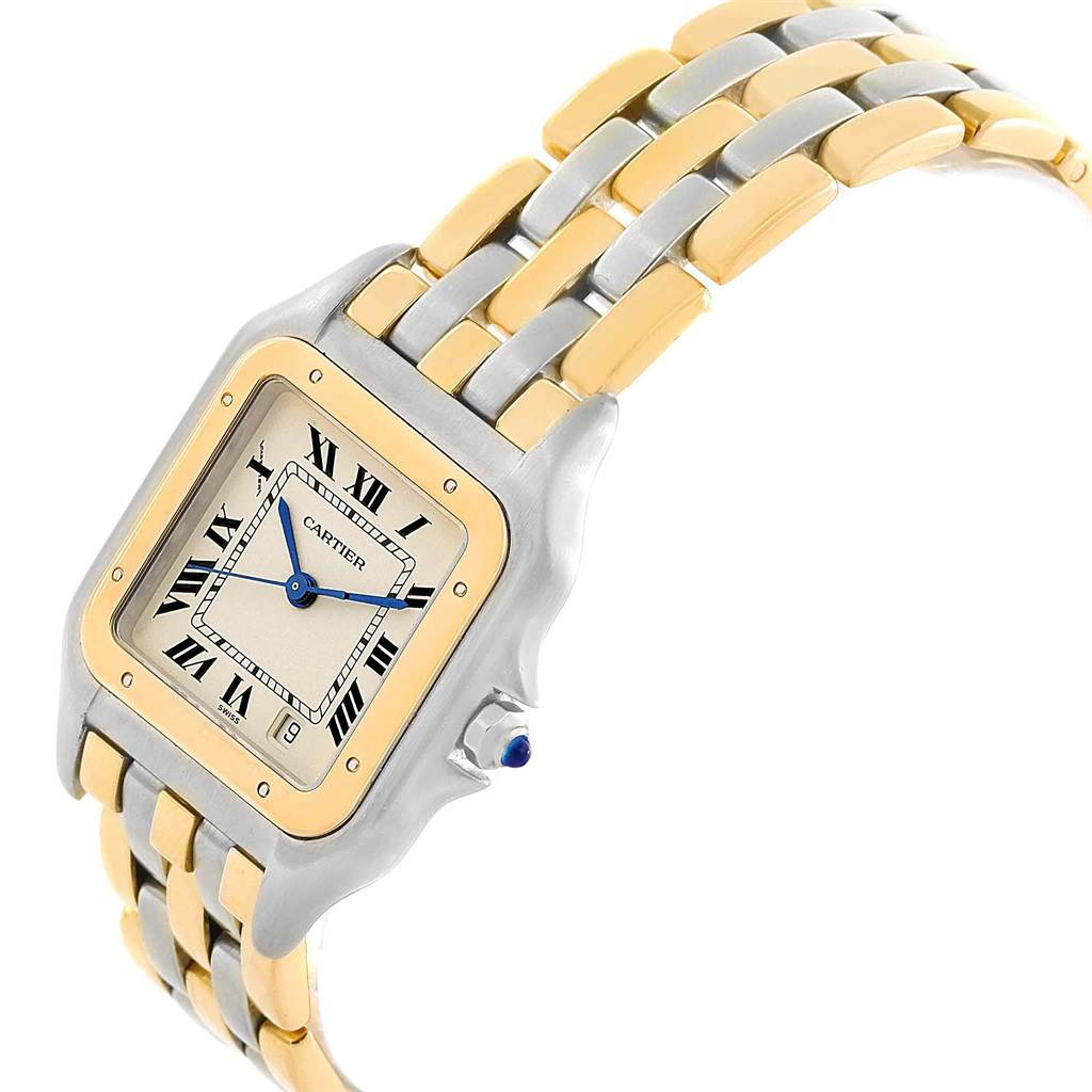 18555 Cartier Panthere Large Steel 18K Yellow Gold Three Row Watch W25028B6 SwissWatchExpo