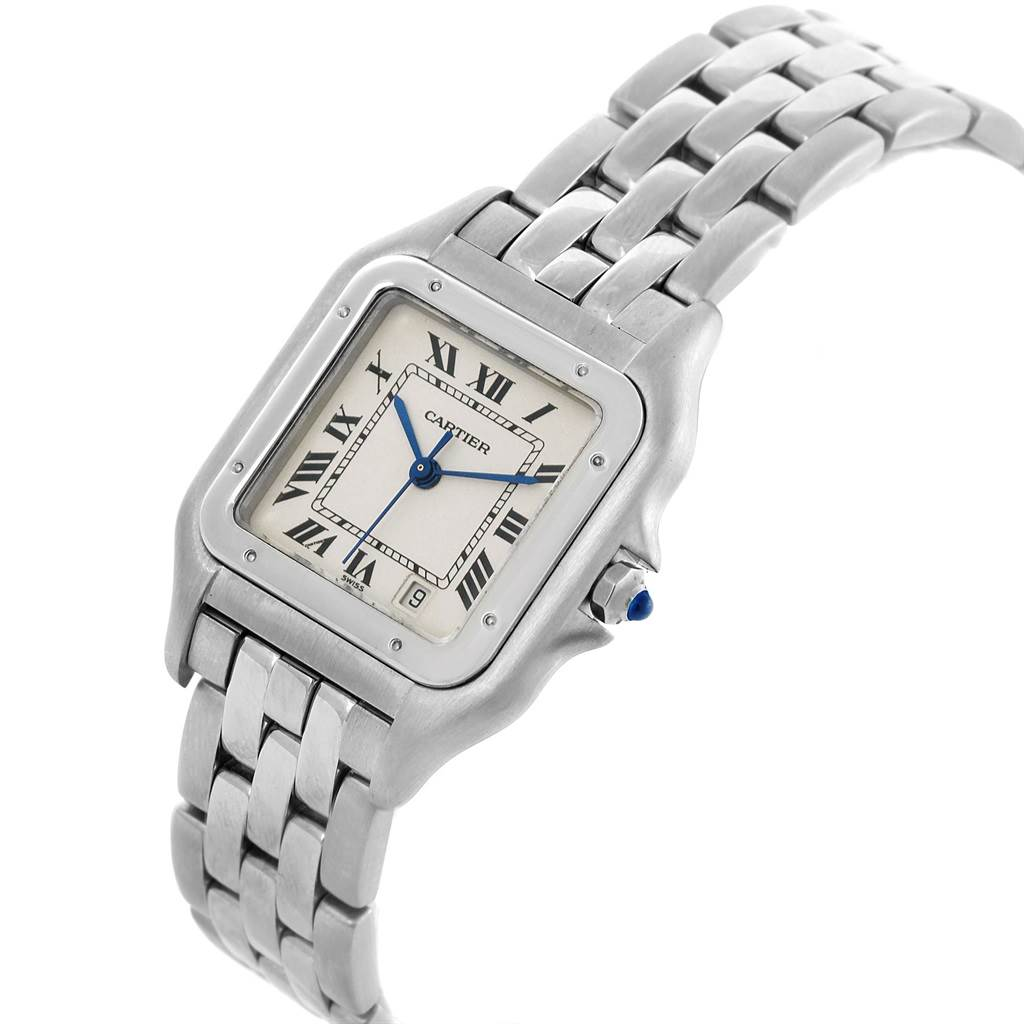 Cartier Panthere Large Steel Unisex Watch W25054P5 Box Papers SwissWatchExpo