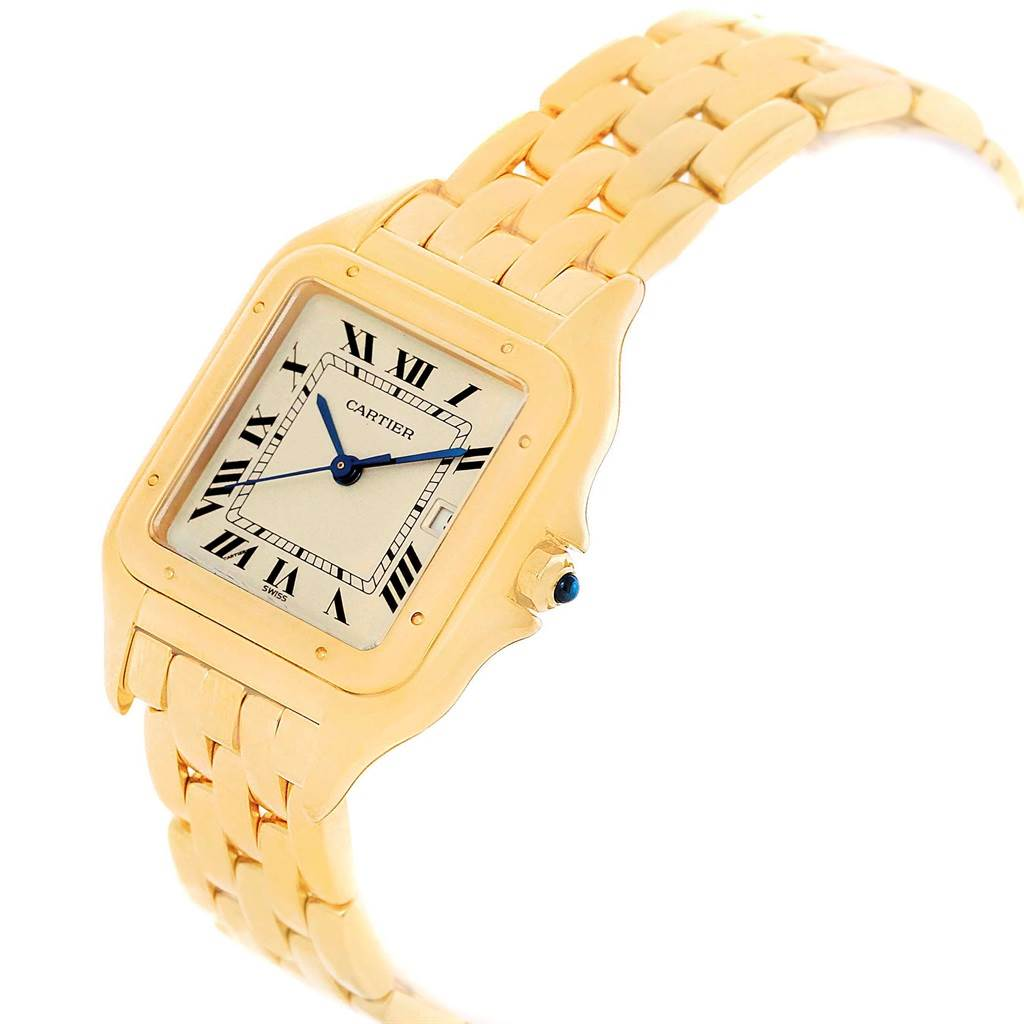 18354 Cartier Panthere XL 18K Yellow Gold Silver Dial Unisex Watch W25014B9 SwissWatchExpo