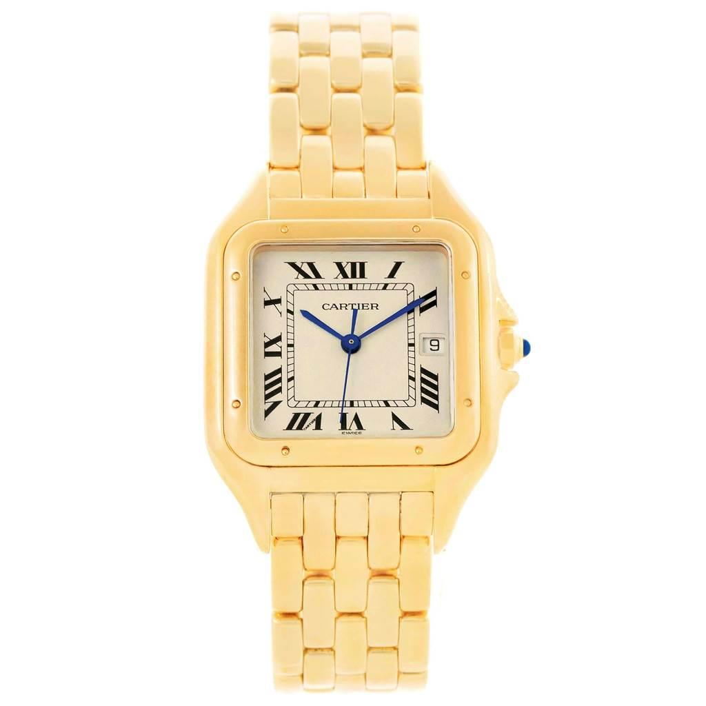 18832 Cartier Panthere XL 18K Yellow Gold Unisex Watch W25014B9 Box Papers SwissWatchExpo