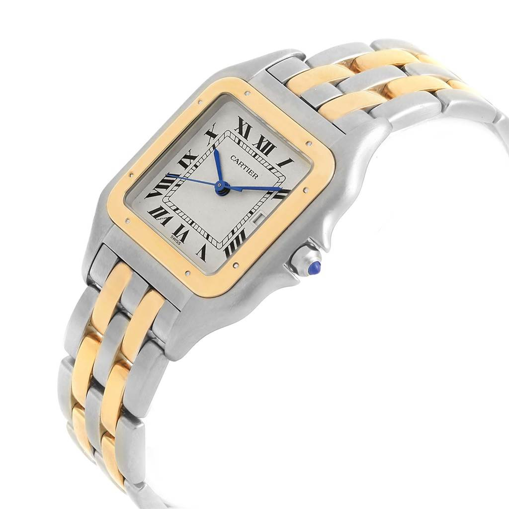 18886 Cartier Panthere Jumbo Steel Yellow Gold Two Row Unisex Watch 187957 SwissWatchExpo