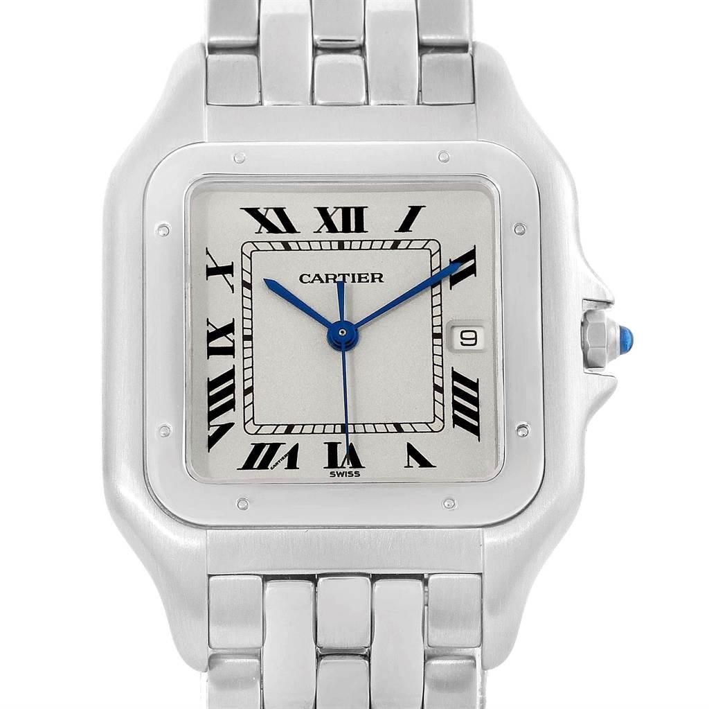 Cartier Panthere Jumbo Steel Unisex Watch W25032P5 Box Papers SwissWatchExpo