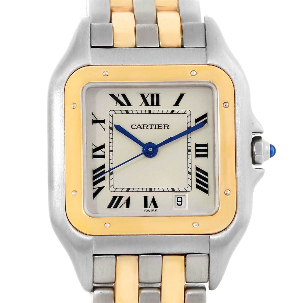 18731 Cartier Panthere Large Steel Yellow Gold Two Row Unisex Watch W25028B8 SwissWatchExpo