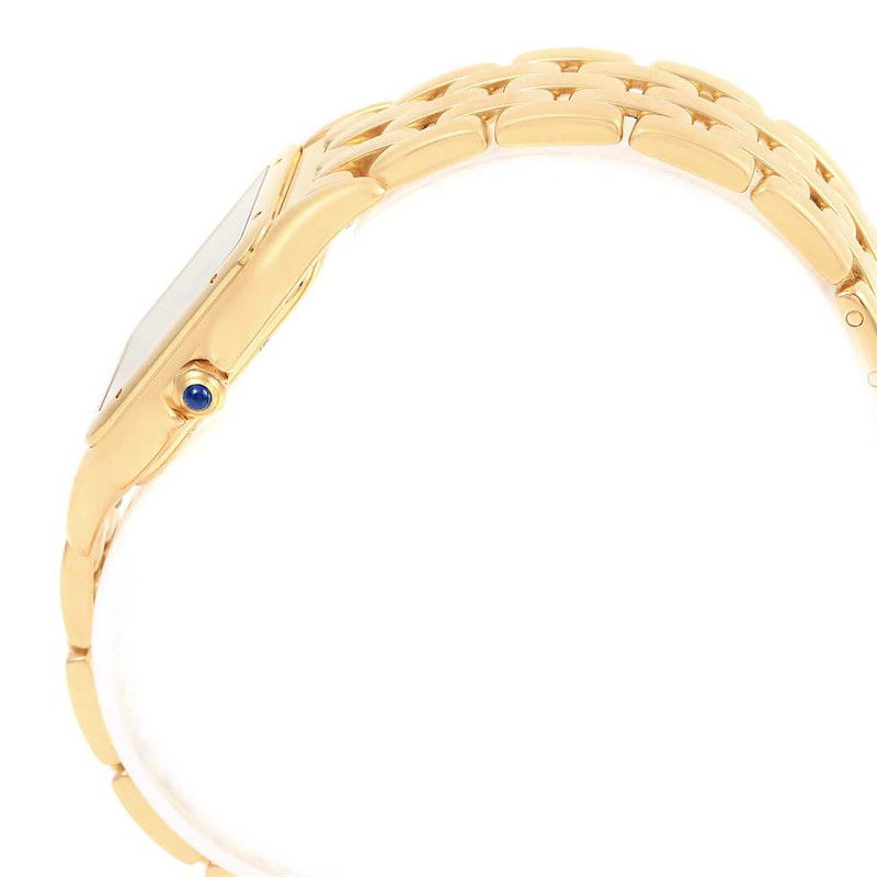 Cartier Panthere Silver Dial Blue Hands Large Yellow Gold Unisex Watch SwissWatchExpo