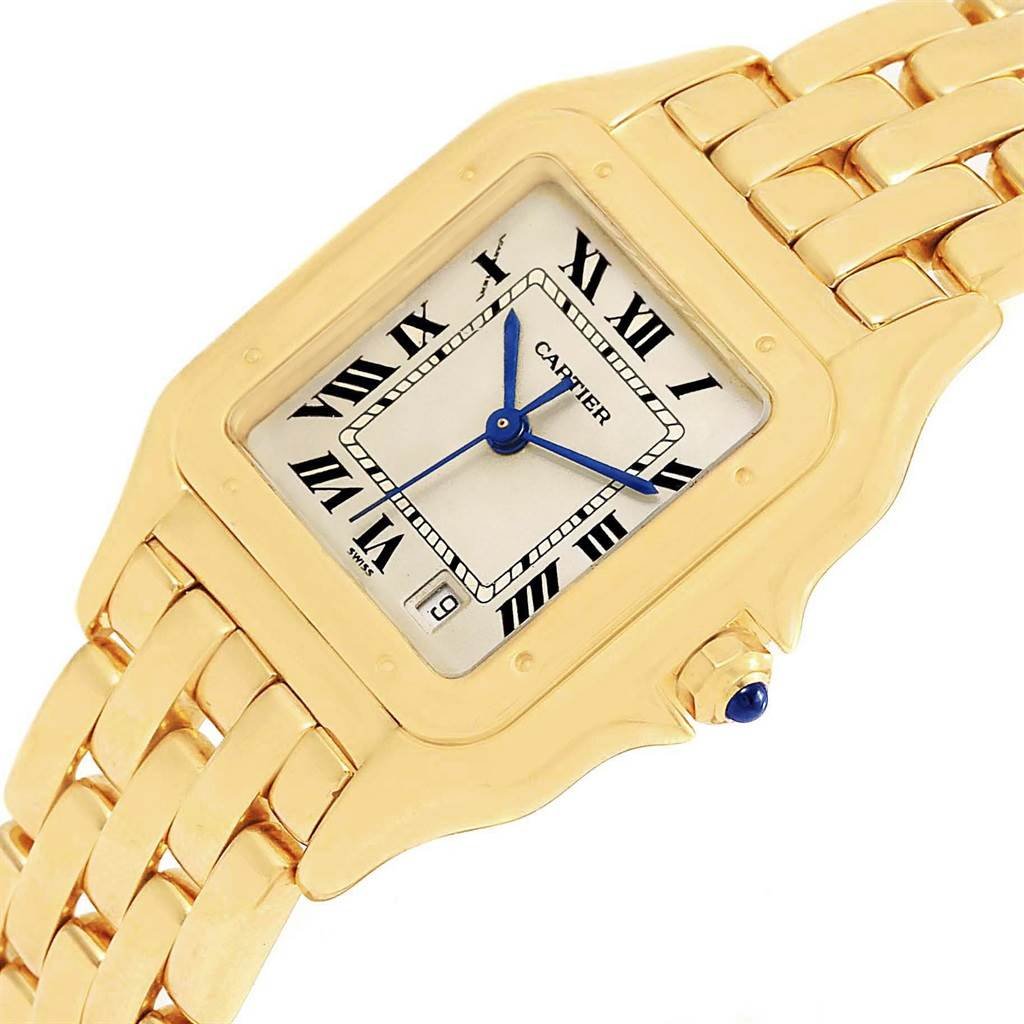 19870 Cartier Panthere Silver Dial Blue Hands Large Yellow Gold Unisex Watch SwissWatchExpo