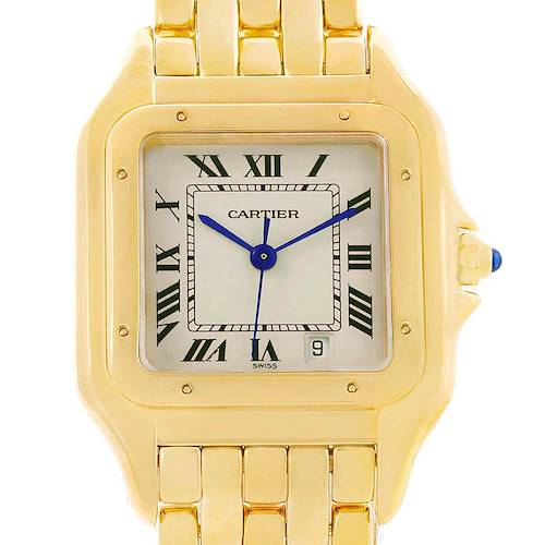 Photo of Cartier Panthere Silver Dial Blue Hands Large Yellow Gold Unisex Watch