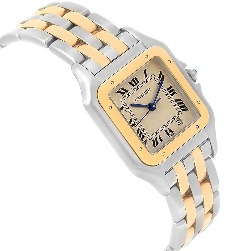 Cartier Panthere Large Steel Yellow Gold Two Row Unisex Watch W25028B8 SwissWatchExpo