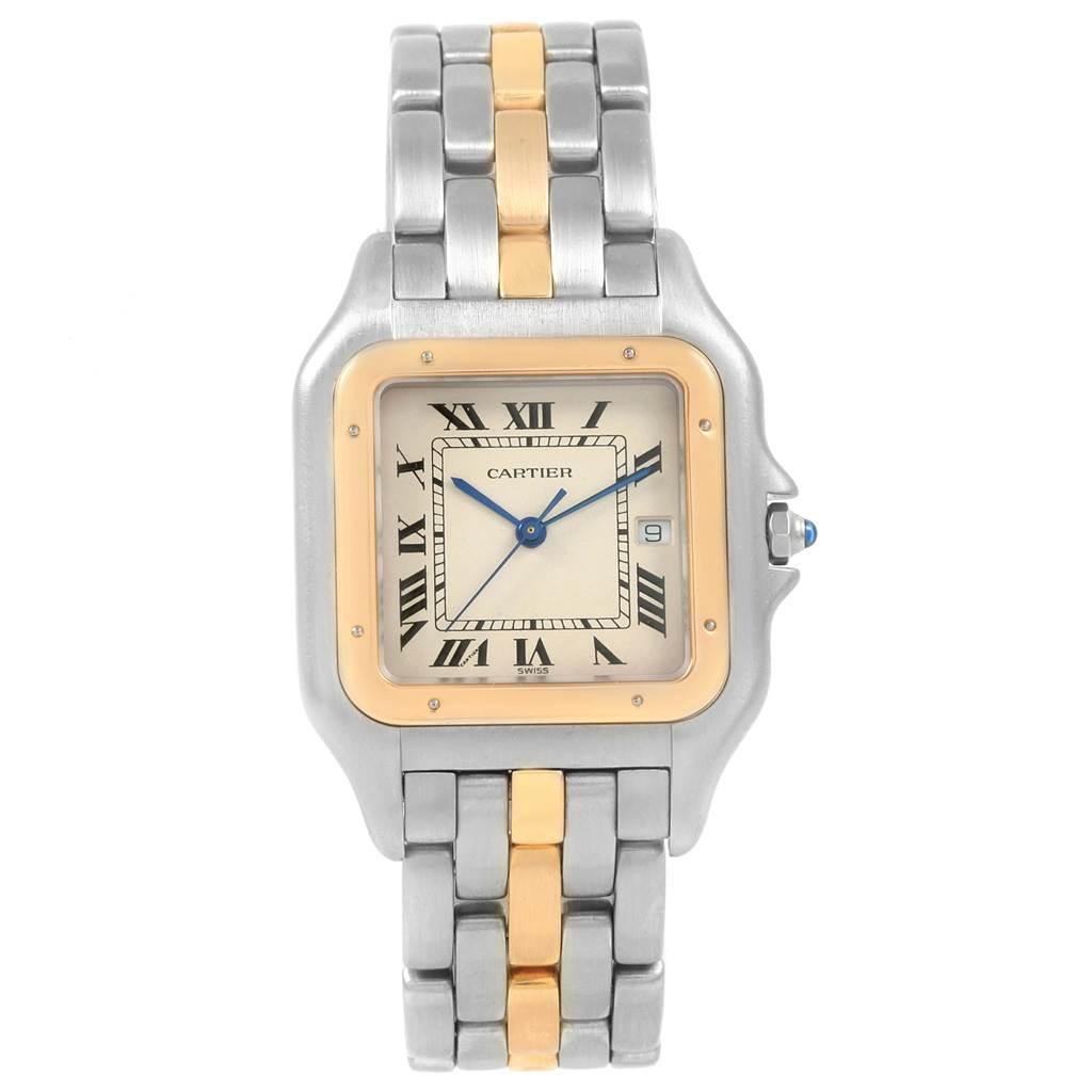 Cartier Panthere Jumbo Steel Yellow Gold One Row Unisex Watch 187957 SwissWatchExpo