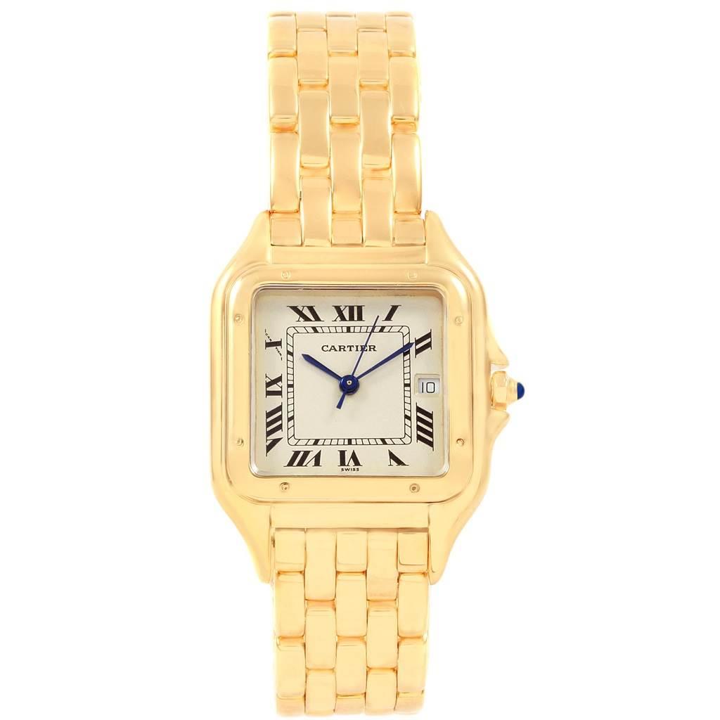 20831A Cartier Panthere XL Blue Sapphire Crown Yellow Gold Mens Watch W25014B9 SwissWatchExpo