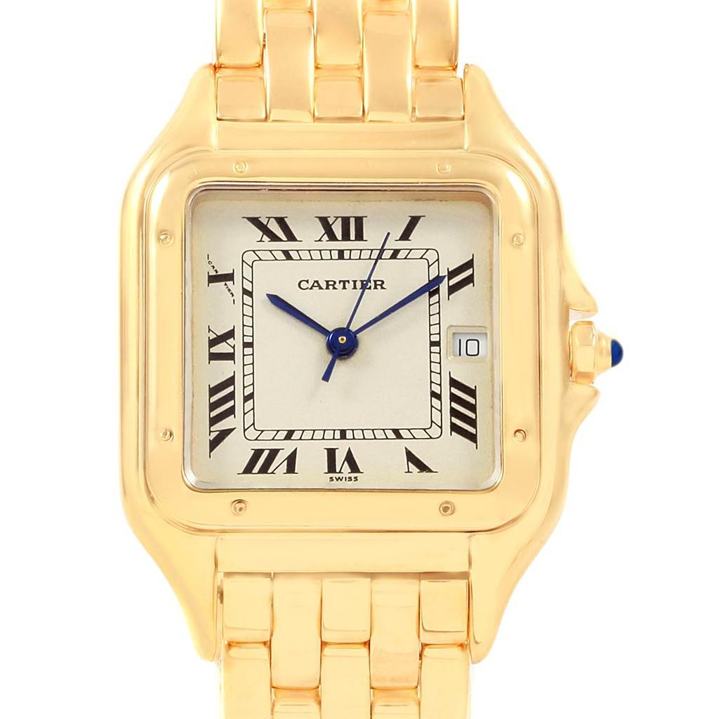 20831 Cartier Panthere XL Blue Sapphire Crown Yellow Gold Mens Watch W25014B9 SwissWatchExpo