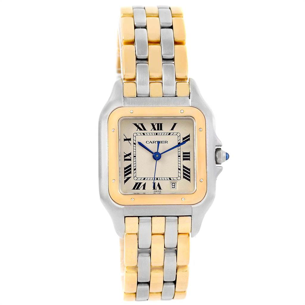 Cartier Panthere Large Steel 18K Yellow Gold Three Row Watch W25028B6 SwissWatchExpo