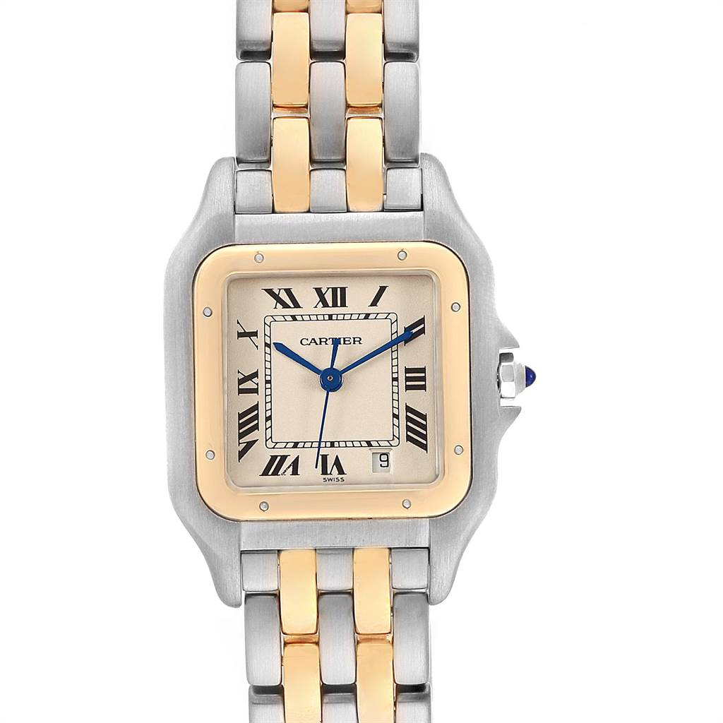 21939 Cartier Panthere Large Steel Yellow Gold Two Row Mens Watch W25028B8 SwissWatchExpo