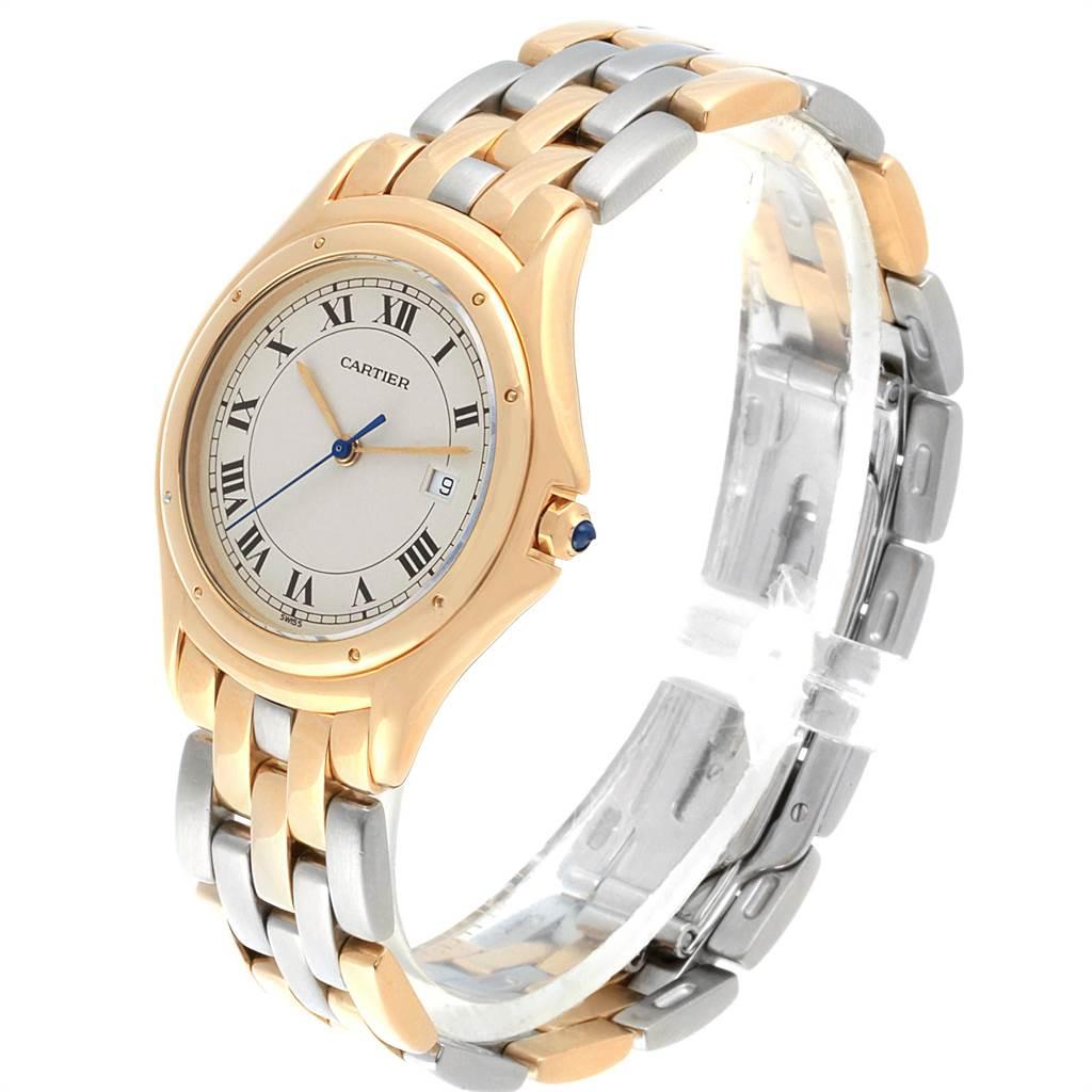 21148 Cartier Cougar Steel Midsize 18K Yellow Gold Unisex Watch 887904C SwissWatchExpo
