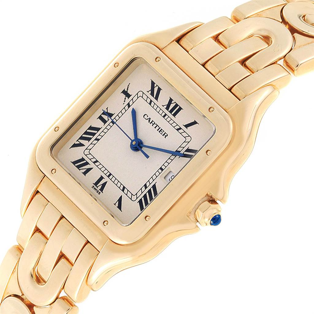 Cartier Panthere XL Art Deco Yellow Gold Mens Watch W25014B9 SwissWatchExpo