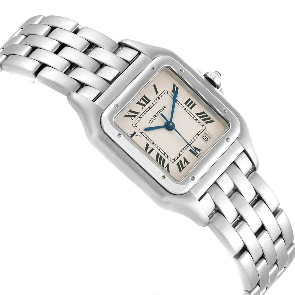 23404 Cartier Panthere Large Blue Hands Steel Unisex Watch W25054P5 SwissWatchExpo