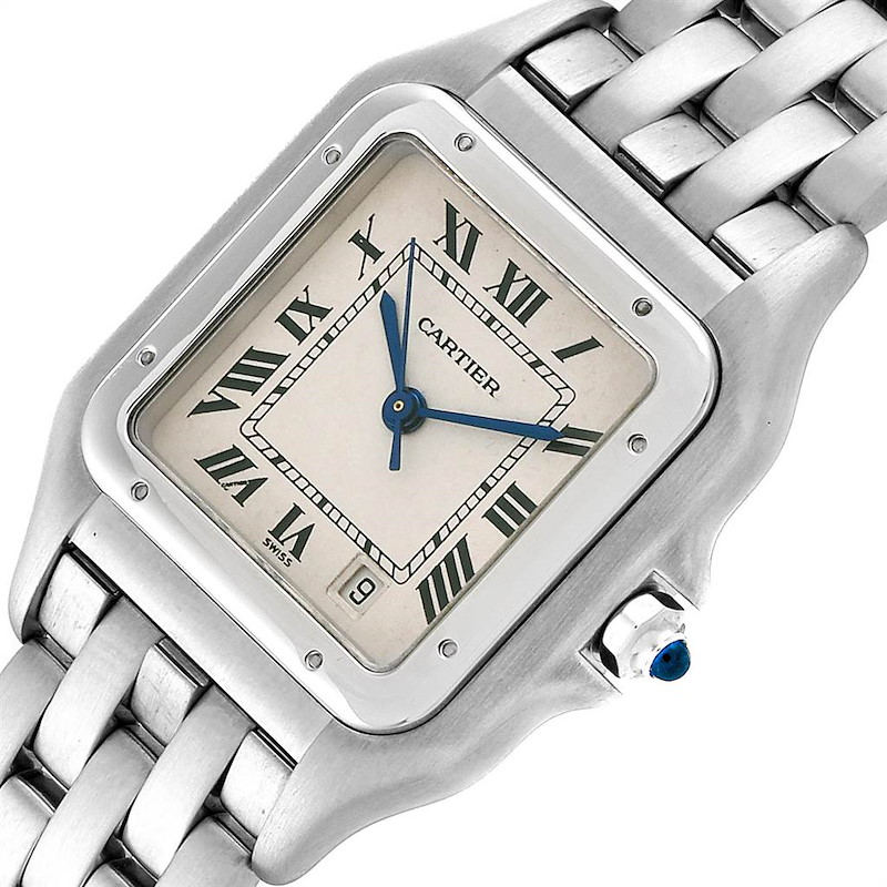 Cartier Panthere Large Blue Hands Steel Unisex Watch W25054P5 SwissWatchExpo