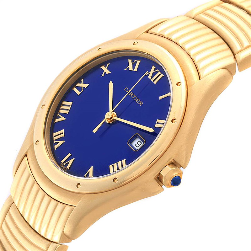 Cartier Cougar 18K Yellow Gold Blue Dial Unisex Watch  W35019L3 SwissWatchExpo