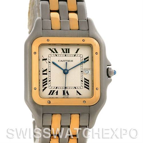 Photo of Cartier Panthere Large Steel 18K Yellow Gold Two Row Watch W25028B6