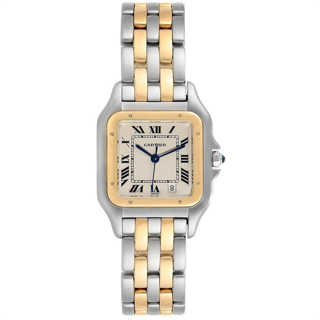 23875 Cartier Panthere Large Steel Yellow Gold Two Row Mens Watch W25028B8 SwissWatchExpo