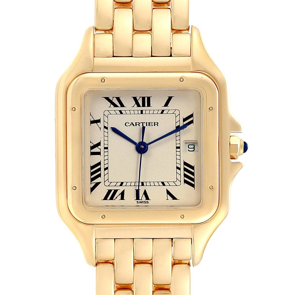 25258 Cartier Panthere XL Blue Sapphire Yellow Gold Unisex Watch W25014B9 SwissWatchExpo