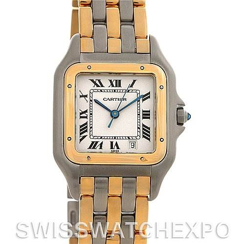 2615 Cartier  Panthere Large Steel 18k Yellow Gold Three Row Watch SwissWatchExpo