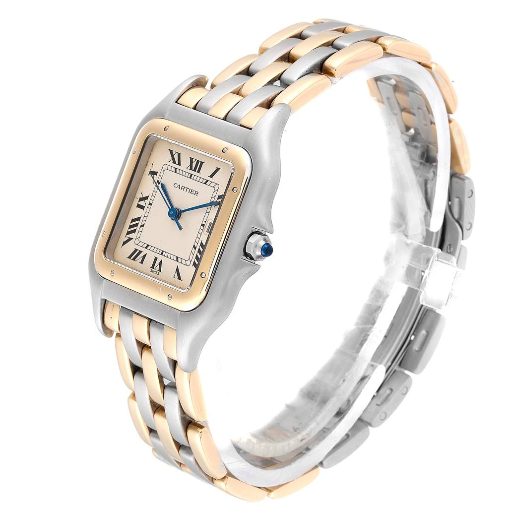 Cartier Panthere Jumbo Steel 18K Yellow Gold Three Row Quartz Watch 187957 SwissWatchExpo