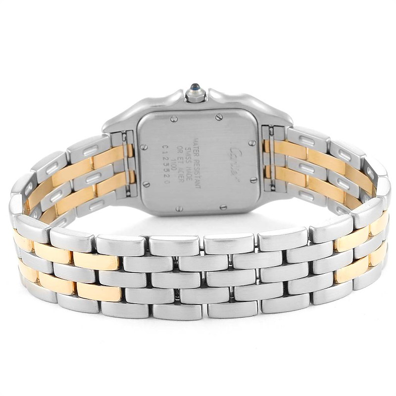 Cartier Panthere Large Steel Yellow Gold Two Row Mens Watch W25028B8 SwissWatchExpo