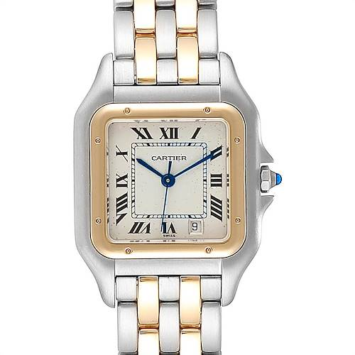 Photo of Cartier Panthere Large Steel Yellow Gold Two Row Mens Watch W25028B8