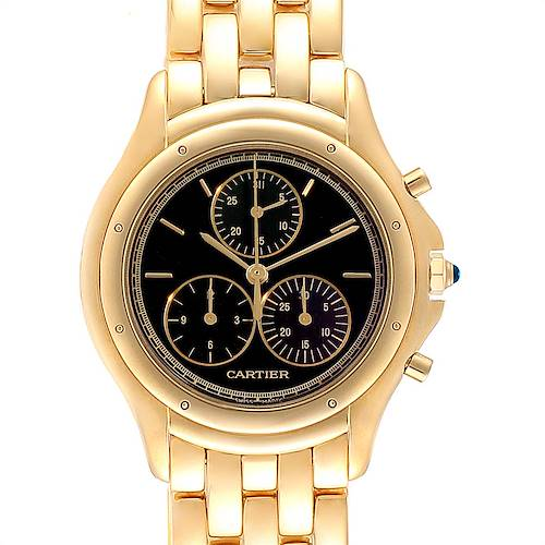 Photo of Cartier Cougar Chronograph Yellow Gold Black Dial Unisex Watch 1162