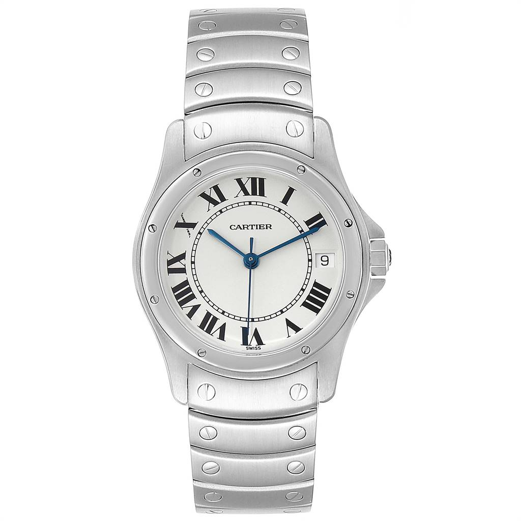 Cartier Santos Ronde White Dial Steel Unisex Watch W35002F5 SwissWatchExpo