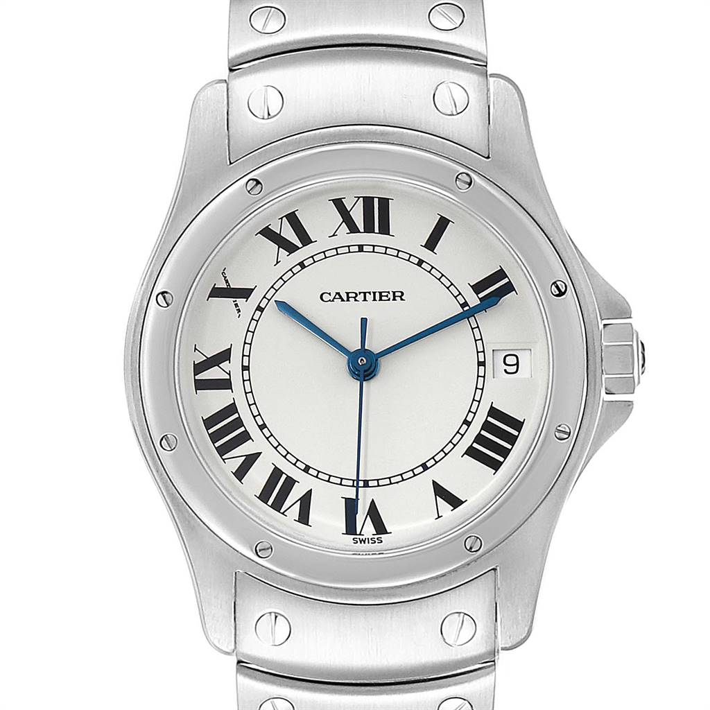 Cartier Santos Ronde White Dial Steel Unisex Watch W35002F5 SwissWatchExpo