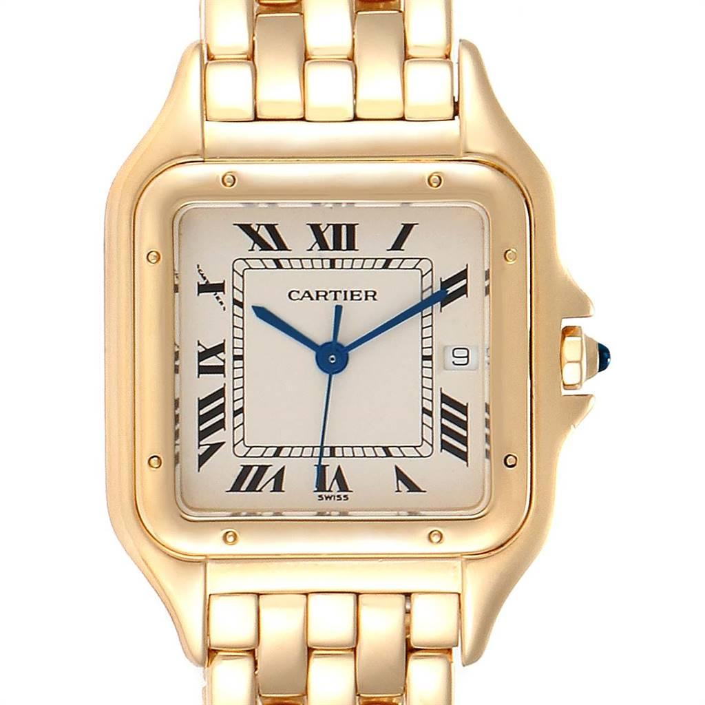 Cartier Panthere XL Blue Sapphire Yellow Gold Unisex Watch W25014B9 SwissWatchExpo
