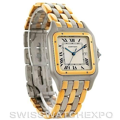 2922 Cartier Panthere Jumbo Steel 18K Yellow Gold Three Row Watch SwissWatchExpo