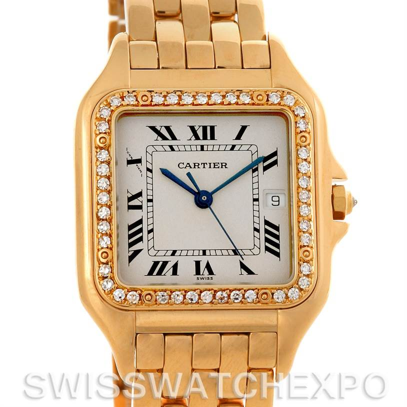 3071 Cartier Panthere X-Large 18K Yellow Gold Diamond Watch W25014B9 SwissWatchExpo