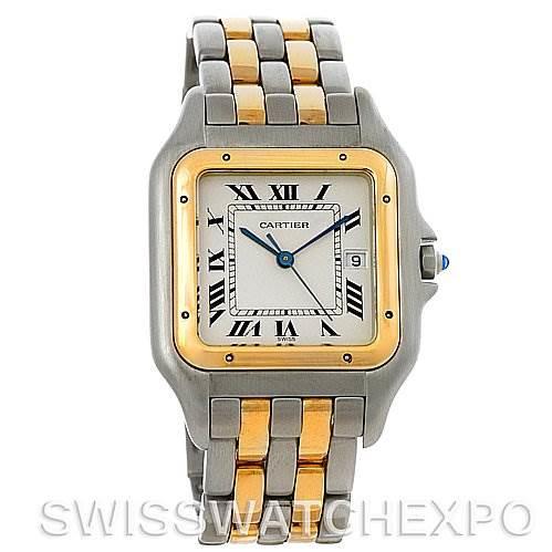 Cartier Panthere Jumbo Steel 18K Yellow Gold Two Row Watch SwissWatchExpo