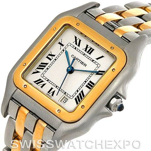 Cartier Panthere Large Steel 18K Yellow Gold Two Row Watch W25028B6 SwissWatchExpo