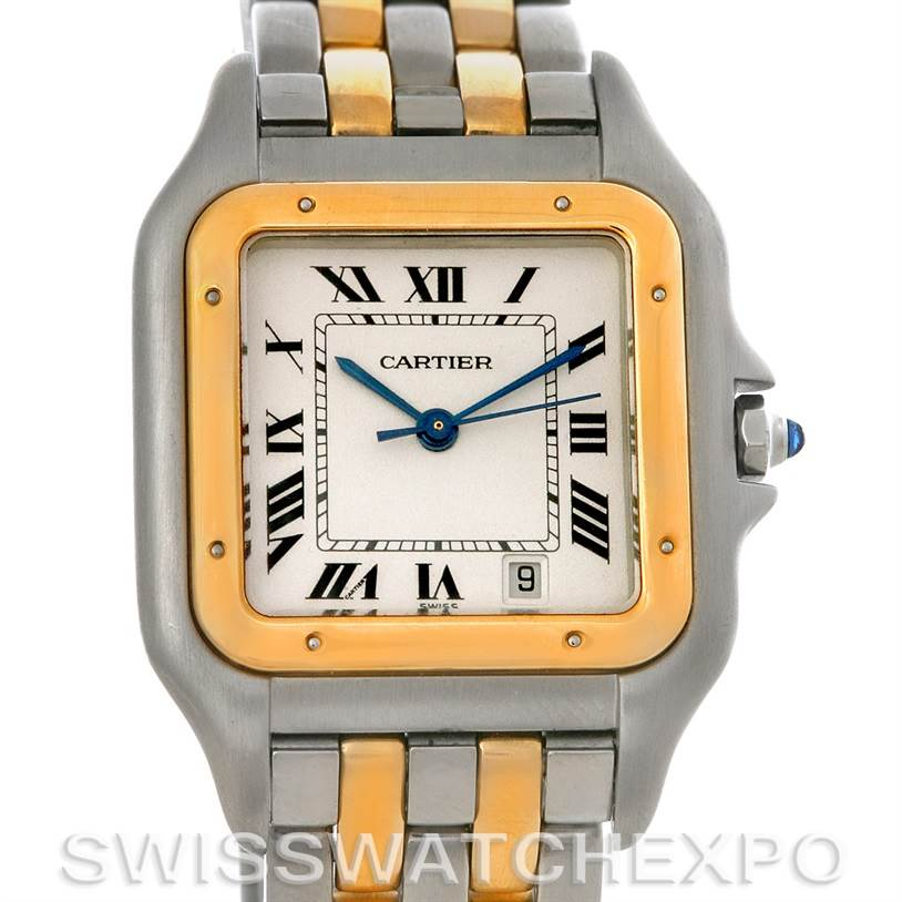 2094 Cartier Panthere Large Steel 18K Yellow Gold Two Row Watch W25028B6 SwissWatchExpo