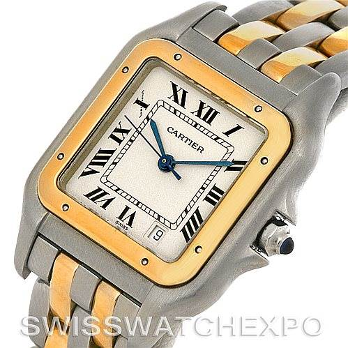 2619 Cartier Panthere Large Steel 18K Yellow Gold Two Row Watch W25028B6 SwissWatchExpo